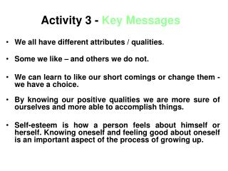 Activity 3 -  Key Messages