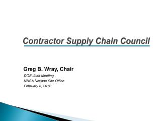 Contractor  Supply Chain Council