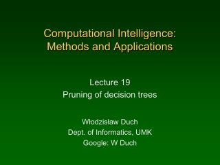 Computational Intelligence:  Methods and Applications