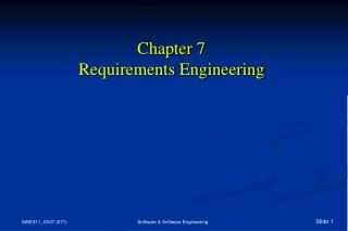 Chapter 7 Requirements Engineering