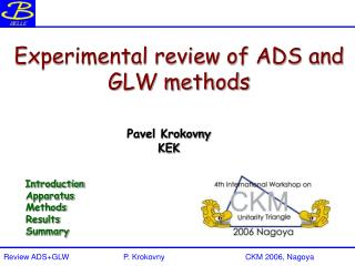 Experimental review of ADS and GLW methods