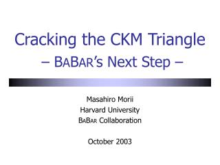 Cracking the CKM Triangle  – B A B AR 's Next Step –