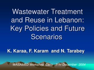Wastewater Treatment and Reuse in Lebanon: Key Policies and Future Scenarios