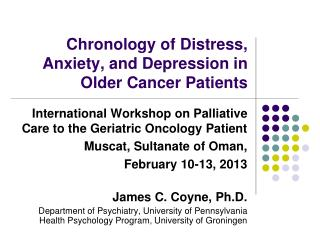 Chronology of Distress, Anxiety, and Depression in Older Cancer Patients