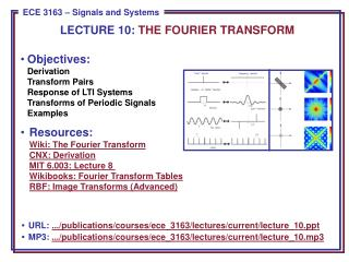 Objectives: Derivation Transform Pairs Response of LTI Systems Transforms of Periodic Signals Examples