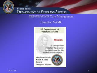 OEF/OIF/OND Care Management Hampton VAMC