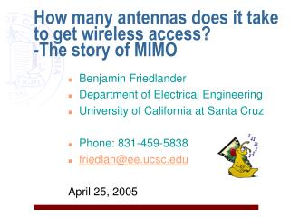 How many antennas does it take to get wireless access? -The story of MIMO