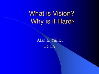 What is Vision?   Why is it Hard ?
