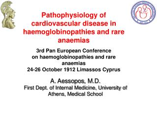 Pathophysiology of cardiovascular disease in haemoglobinopathies and rare anaemias