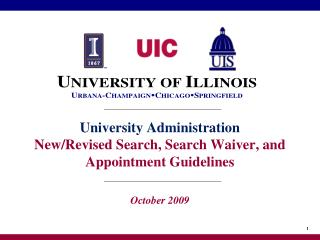 University Administration New/Revised Search, Search Waiver, and Appointment Guidelines