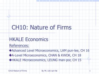 CH10: Nature of Firms