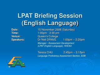 LPAT Briefing Session (English Language)
