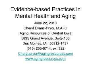 Evidence-based Practices in Mental Health and Aging