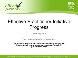 Effective Practitioner Initiative Progress