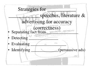 Strategies for ___________ ____________speeches, literature & advertising for accuracy (correctness)