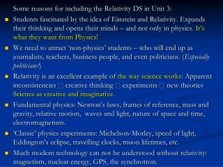 Some reasons for including  the Relativity DS in Unit 3: