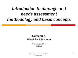 Introduction to damage and needs assessment methodology and basic concepts