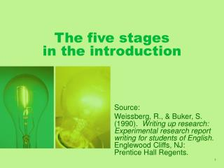 The five stages  in the introduction