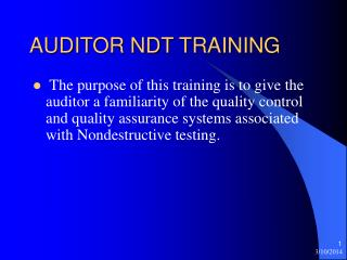 AUDITOR NDT TRAINING