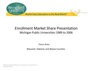 Enrollment Market Share Presentation Michigan Public Universities 1989 to 2006