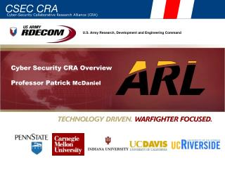 Cyber Security CRA Overview Professor Patrick  McDaniel