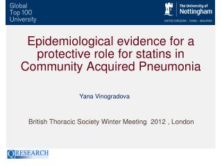 Epidemiological evidence for a protective role for statins in Community Acquired Pneumonia