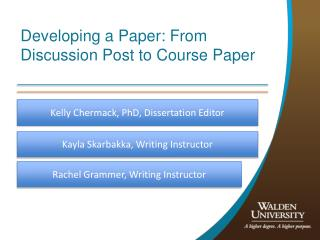 Developing a Paper: From Discussion Post to Course Paper