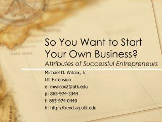 So You Want to Start Your Own Business? Attributes of Successful Entrepreneurs