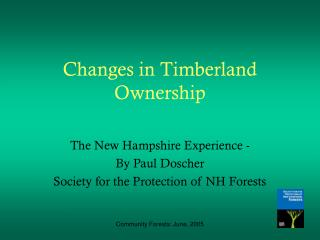 Changes in Timberland Ownership