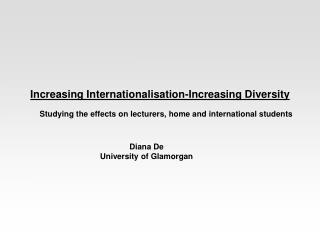 Increasing Internationalisation-Increasing Diversity