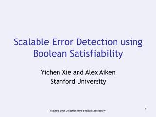 Scalable Error Detection using Boolean Satisfiability