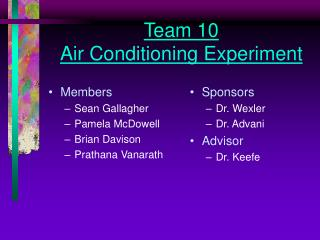 Team 10 Air Conditioning Experiment
