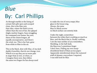 Blue  By:  Carl Phillips