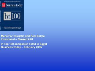 Mena For Touristic and Real Estate Investment – Ranked # 84
