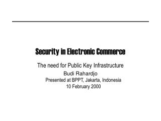 Security in Electronic Commerce