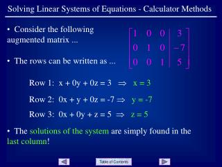Solving Linear Systems of Equations - Calculator Methods