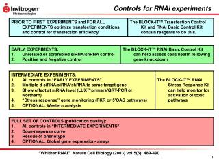Controls for RNAi experiments
