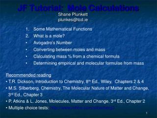 JF Tutorial:  Mole Calculations