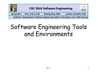 Software Engineering Tools and Environments