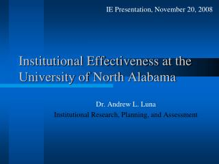 Institutional Effectiveness at the University of North Alabama
