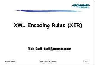 XML Encoding Rules (XER)