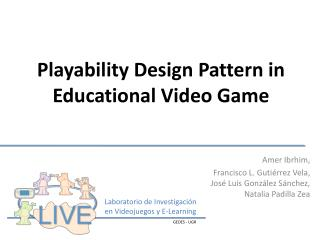 Playability Design Pattern in Educational Video Game