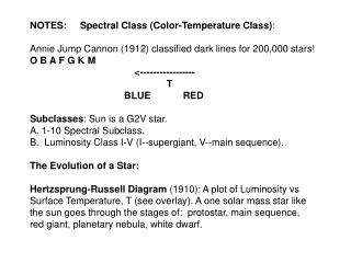 NOTES:     Spectral Class (Color-Temperature Class) :