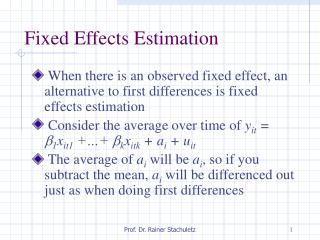 Fixed Effects Estimation