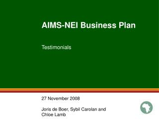 AIMS-NEI Business Plan