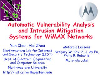 Automatic Vulnerability Analysis and Intrusion Mitigation Systems for WiMAX Networks