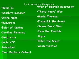 Ch. 21 Absolute Monarchs