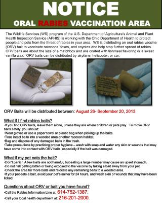 ORV Baits will be distributed between:  August 26- September 20, 2013 What if I find rabies baits?