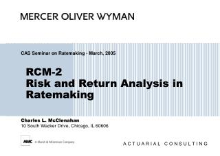 RCM-2 Risk and Return Analysis in Ratemaking