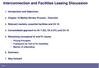 Interconnection and Facilities Leasing Discussion